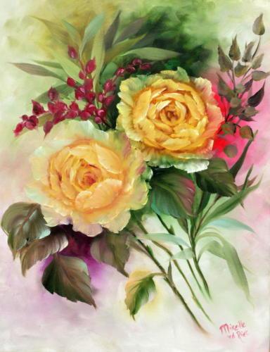 Gele rozen olieverf Mireille van de Riet in techniek Gary Jenkins