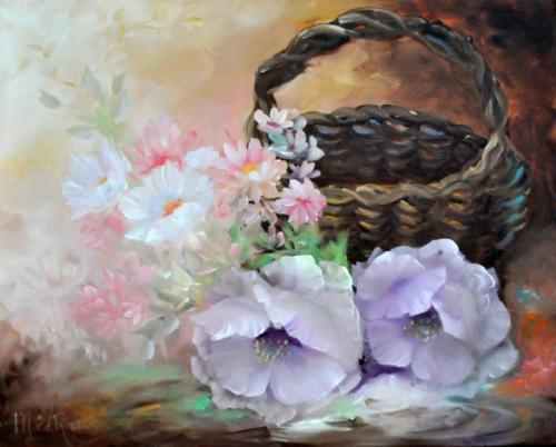 Bloemen met mand volgens de olieverf schildertechniek van Gary Jenkins