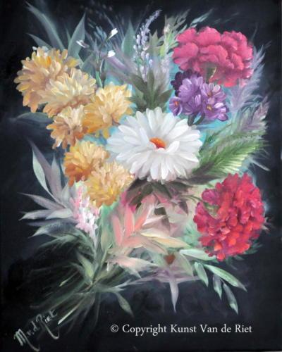Boeket bloemen volgens de olieverf schildertechniek van Gary Jenkins