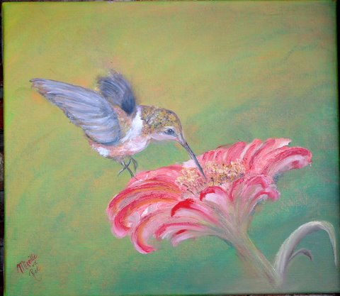 Vogeltje op bloem