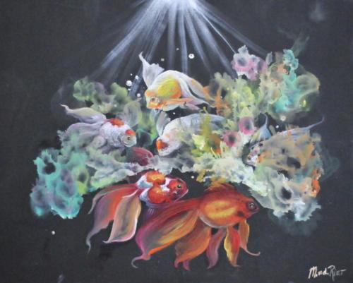 Fish & coral olieverf schilderij volgens de olieverf schildertechniek van Gary Jenkins
