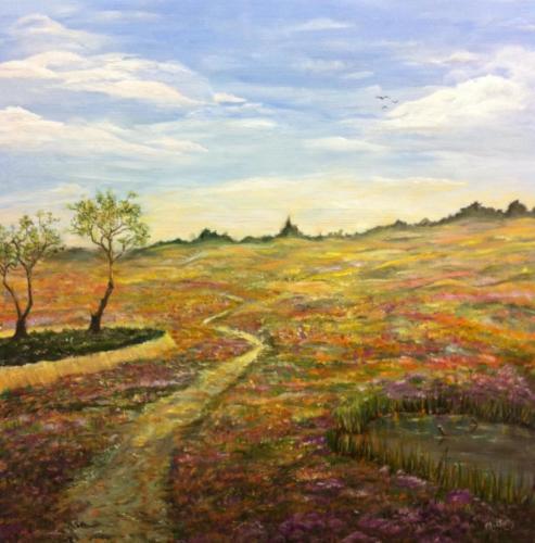 Heide olieverf schilderij