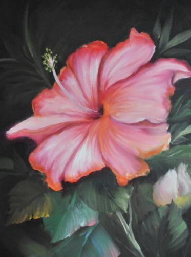 Hibiscus met knop volgens de olieverf schildertechniek van Gary Jenkins