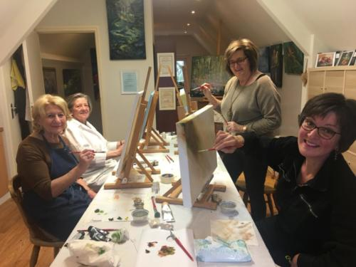 Schilderworkshop in Atelier Kunst van de Riet in Grashoek