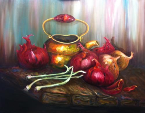 Uien met Koperen pot volgens de olieverf schildertechniek van Gary Jenkins