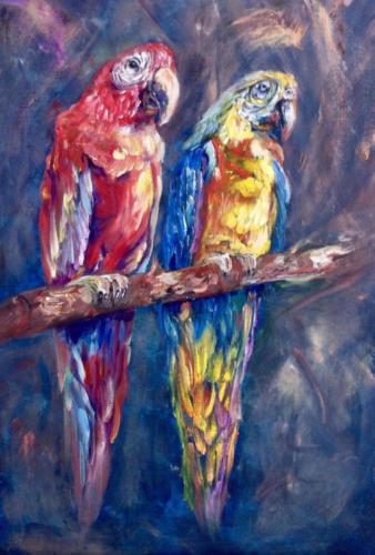 Papagaaien volgens de olieverf schildertechniek van Gary Jenkins