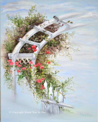 Pergola met rozen