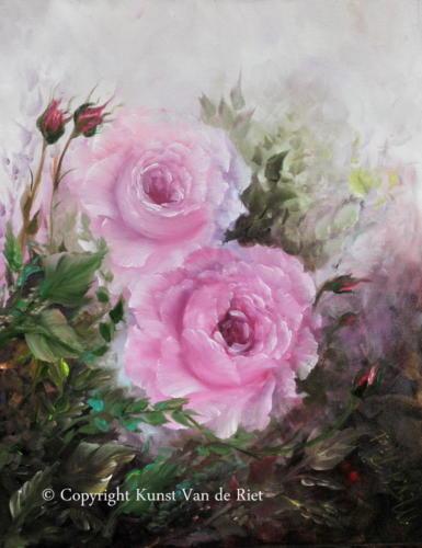 Roze rozen volgens de Gary Jenkins olieverf schildertechniek